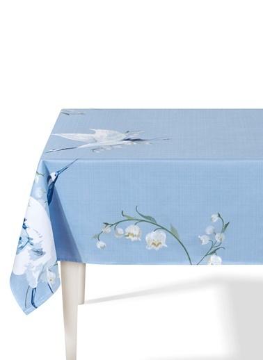 The Mia Leylek Masa Örtüsü - 230 x 150 Cm - Açık Mavi Mavi